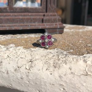 Jewelry - Rubies Natural Seed Pearls Sterling Silver Ring 6